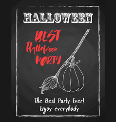 Halloween holiday chalk poster for night party vector