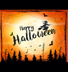 halloween spooky background with broomstick vector image