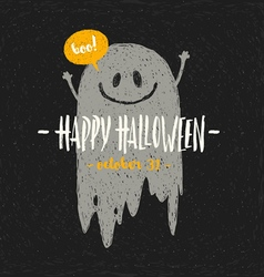 halloween with hand drawn ghost and greeting vector image