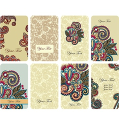 hand draw ornamental floral card set vector image