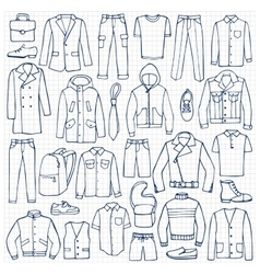 Hand drawn doodle set with man clothes vector image