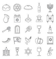 hanukkah holiday icon set outline style vector image
