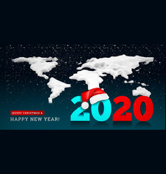 happy new year 2020 on background a snowy vector image