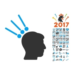 Head test connectors icon with 2017 year bonus vector