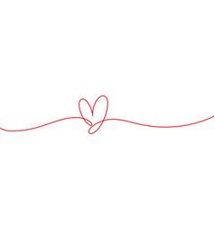 heart shape mono line continuous line icon vector image
