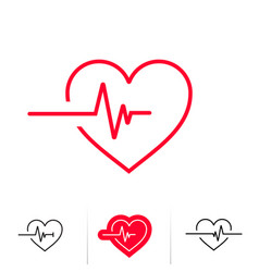 Heartbeat or heart beat pulse outline icon for vector