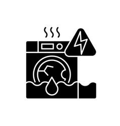 Household appliances malfunction black glyph icon vector