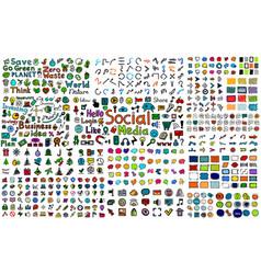 Huge mega collection color hand drawn doodle vector