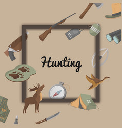 hunting poster with hunter ammunition icons vector image