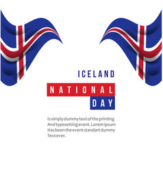 Iceland national day template design vector