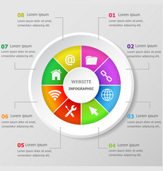 Infographic design template with website icons vector