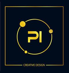 Initial letter pi logo template design vector