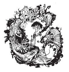 Ink creatures vector
