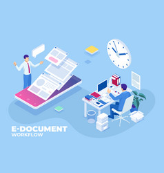 Isometric concept business e-documents vector