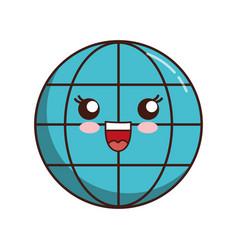 Kawaii global sphere icon vector
