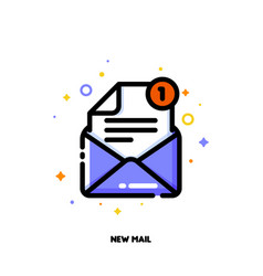 line icon of open envelope for new mail concept vector image