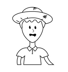 Line nice man with hat and t-shirt vector