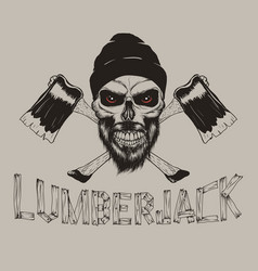Lumberjack-skull with axes vector