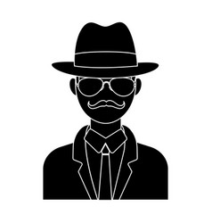 Man in hat suit raincoat and glasses the vector