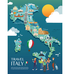 map italy attractions and vector image