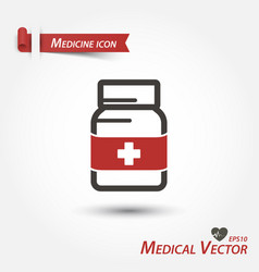 medicine bottle icon medical vector image