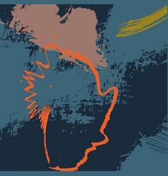 Navy orange dymanic brush stroke pattern contrast vector