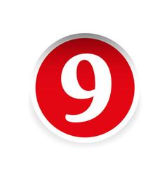 Number nine red label vector