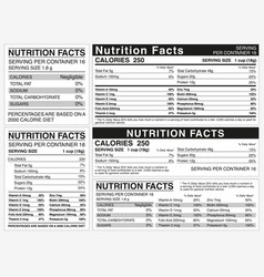 Nutrition facts table indicator nutritional vector