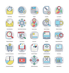 Pack of flat digital and internet marketing icons vector