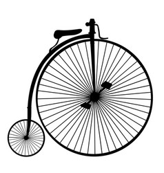 Penny-farthing or high wheel bicycle silhouette vector