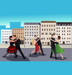 people dancing tango vector image