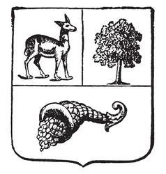 Peruvian coat of arms of peru vintage engraving vector