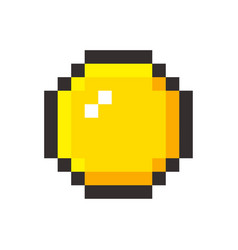 Pixel art golden coin retro video game vector