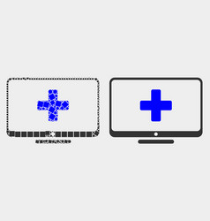pixelated and flat computer medicine icon vector image