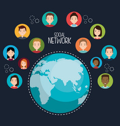 planet with social network icons vector image