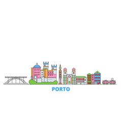 Portugal porto line cityscape flat vector
