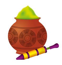 Powder color mud pot and pichkari for celebration vector