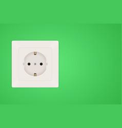 Power socket european type f socket on green wall vector