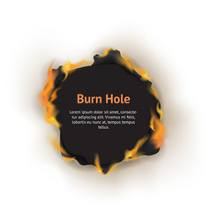 Realistic detailed 3d burn hole paper concept card vector