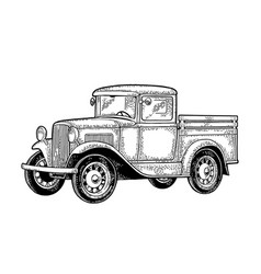 Retro pickup truck side view vintage black vector
