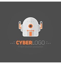Robot head logotype in flat-style vector