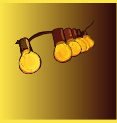 Round vintage lamps bulb yellow suspended vector
