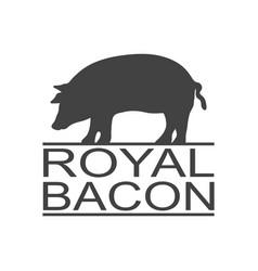 royal bacon vintage icon pork label logo print vector image