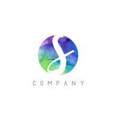s watercolor letter logo design with circular vector image