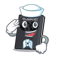 Sailor black passport in a cartoon bag vector