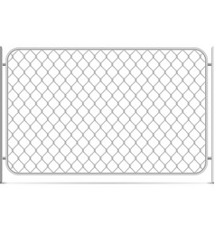 seamless glossy metal chain link fence on white vector image
