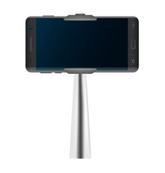 selfie stick and smartphone mockup realistic vector image
