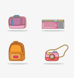 Set baggage with ticket and camera wanderlust vector