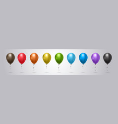 set of colorful helium balloon on grey background vector image