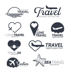 Set of travel logo templates with airplane heart vector